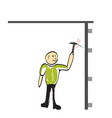 man hits the nail with a hammer icon vector image