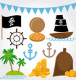 Marine Pirate set on white background vector image vector image