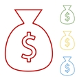 Money bag Set of line icons vector image vector image