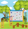 monkey bar and climbing wall in the playground vector image vector image