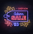 neon sign autumn big sale with maple leaves vector image