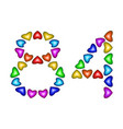 number 84 eighty four of colorful hearts on white vector image