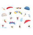parachute skydivers set vector image vector image