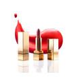 realistic lipstick cosmetic makeup mockup set vector image vector image