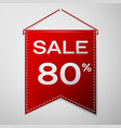 red pennant with inscription sale eighty percent vector image
