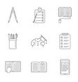 school tool icons set outline style vector image vector image