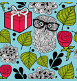 seamless wallpaper with hipster owl and party box vector image vector image