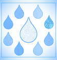 Set of abstract geometric water drops icons vector image