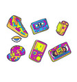 set of fashion patches sneakers video cassette vector image vector image