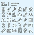 sport line icon set summer and winter activity