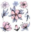 spring blossom - pink flower set flower vector image