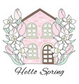 spring house flower garden holiday set vector image