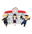 students in graduation outfit at school vector image vector image