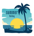 summer holiday coconut tree sunset blue sky backgr vector image vector image