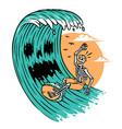 surfing horror sea vector image vector image