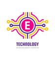 technology letter e - logo template concept vector image