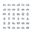 thin line icons set with public transport vector image vector image