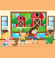 three kids playing toys at home vector image vector image