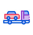 truck picks up car icon outline vector image
