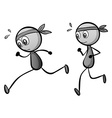 Two boys running on white vector image