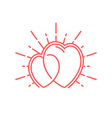 two glowing hearts vector image vector image