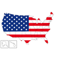 USA map with flag vector image vector image