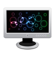 white lcd monitor with bright neon display vector image