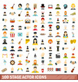 100 stage actor icons set flat style vector image vector image