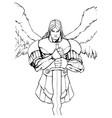 Archangel michael portrait line art