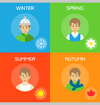 Banners with winter spring summer autumn season vector image