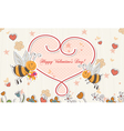 bees with hearts vector image vector image