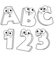 cartoon letters and numbers vector image