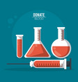 color poster donate blood with test tubes and vector image vector image