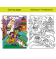 coloring with colored example halloween vector image vector image