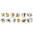 cybersecurity flat icons set vector image vector image