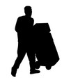 delivery man silhouette carrying boxes with a vector image