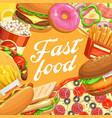 fast food hamburger hot dog taco pizza popcorn vector image vector image