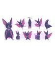 flying bat cartoon wild vampire scary mammals vector image vector image