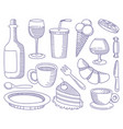 food and drinks doodles vector image vector image