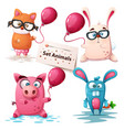 fox rabbit pig - cute animals vector image vector image