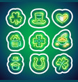 glowing neon patricks sticker pack with stroke vector image