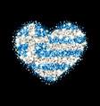 greece flag sparkling heart badge vector image vector image