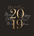 happy new year design black background with 2019 vector image vector image