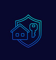 home and key line icon with a shield vector image vector image