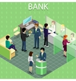 isometric interior bank with people vector image