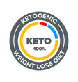 ketogenic diet label 100 percent weight loss keto vector image vector image