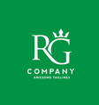 letter rg with crown logo vector image vector image