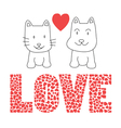Love cat and dog vector image