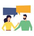 man and woman characters talk bubble vector image vector image