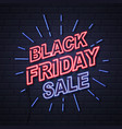neon sign black friday big sale open on brick vector image vector image